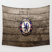 chelsea Wall Tapestries featuring chelsea,chelsea  games, chelsea  blanket, chelsea  duvet cover, english premier league by ira gora