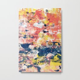 032.5: a vibrant abstract design in yellow pink and blue by Alyssa Hamilton Art Metal Print
