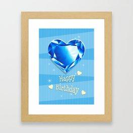 Birthstones September Sapphire Heart Shaped Birthday Framed Art Print