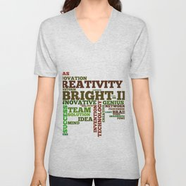 Word cloud with inspiring phrases Unisex V-Neck