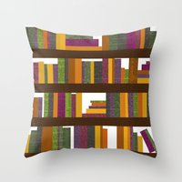 books Throw Pillows featuring Books by Sara Robish Andrews