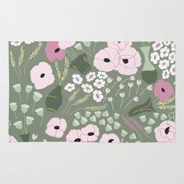 Pink Poppies - kaki floral pattern Rug