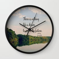 les miserables Wall Clocks featuring Dream to Create the Future Les Miserables Quote by KimberosePhotography