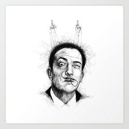 Salvador Dali scribble portrait Art Print
