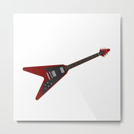 Red Electric Guitar Metal Print