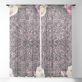 Mandala Night Rose Gold Garden Pink Black Yellow Sheer Curtain