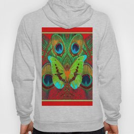 BEAUTIFUL GREEN BUTTERFLY & PEACOCK FEATHERS RED ART Hoody