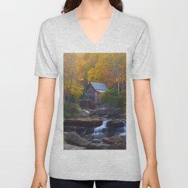 Glade Creek Mill in Autumn Unisex V-Neck