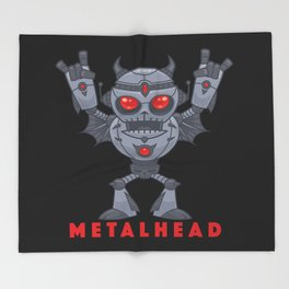 Metalhead - Heavy Metal Robot Devil - With Text Throw Blanket