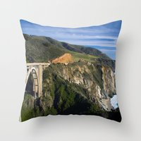 big sur Throw Pillows featuring Big Sur by Brie Anne Demkiw