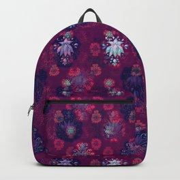 Lotus flower - wine red woodblock print style pattern Backpack
