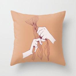 Braiding peach Throw Pillow