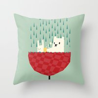 yetiland Throw Pillows featuring umbrella bath time! by Yetiland