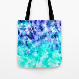 modern boho blue turquoise watercolor mermaid tie dye pattern Tote Bag