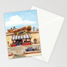 Meeting at the burger joint Stationery Cards