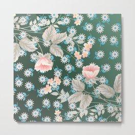 Green Flowers Pattern Metal Print
