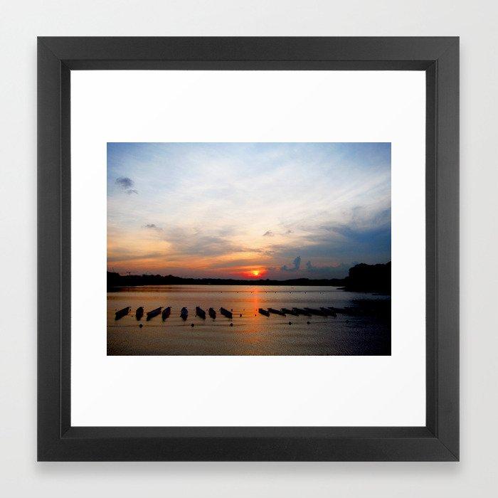 Sunset before the Race Framed Art Print