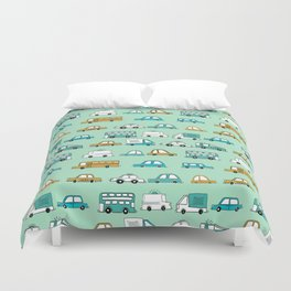 Cars trucks buses city highway transportation illustration cute kids room gifts Duvet Cover