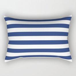 Horizontal Navy Stripes Pattern Rectangular Pillow