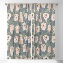 Golden Retrievers and Ferns on Navy Sheer Curtain