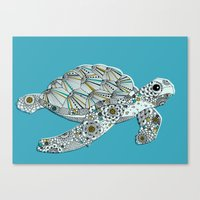 sea turtle Canvas Prints featuring Sea Turtle by Rachel Russell