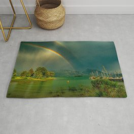 Rainbow at Tedesco Lake, Forgensee Bavaria, Germany color photograph / photography / photographs Rug