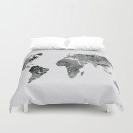 Black and White Art World Map  Duvet Cover