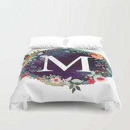 Personalized Monogram Initial Letter M Floral Wreath Artwork Duvet Cover