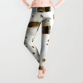 Coffee watercolor pattern with grains coffee Leggings