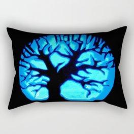 Happy HaLLoWeen Brain Tree Blue Rectangular Pillow
