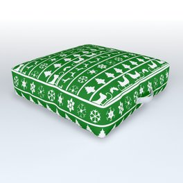 Green & White Nordic Ugly Sweater Christmas Pattern Outdoor Floor Cushion