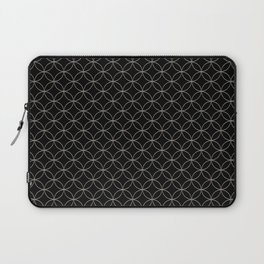 Silver Overlapping Circles on Black Laptop Sleeve
