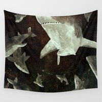 sharks Wall Tapestries featuring sharks by Lara Paulussen