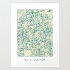 Kuala Lumpur Map Blue Vintage Art Print