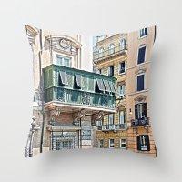 roman Throw Pillows featuring Roman Balcony by BlueMoonArt