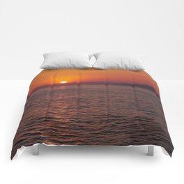 Italian sunset. Coast of Naples Comforters