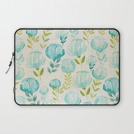 Vintage Aqua Blossoms Laptop Sleeve