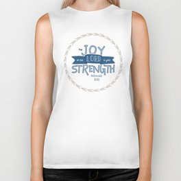 """The Joy of the Lord"" Hand-Lettered Bible Verse Biker Tank"