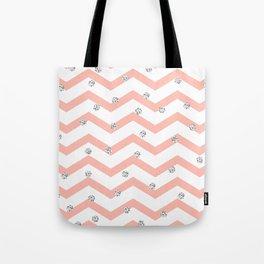 Geometrical coral white silver glitter polka dots Tote Bag
