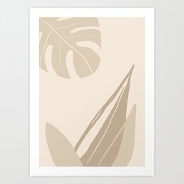Tropical leaves abstract art background illustration Art Print