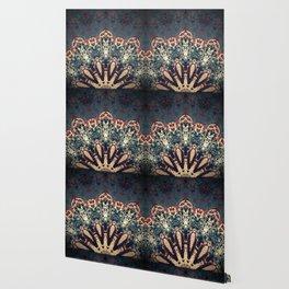 Teal Beige Textured Half Mandala Wallpaper