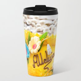 yellow decorative Easter cake Travel Mug