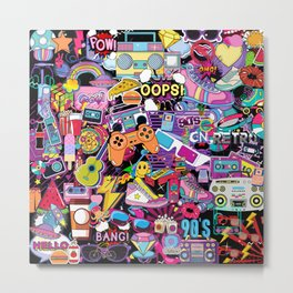 90s Kids Retro Stickers Collage  Metal Print