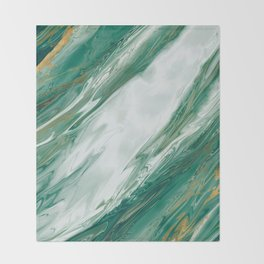 Emerald Jade Green Gold Accented Painted Marble Throw Blanket