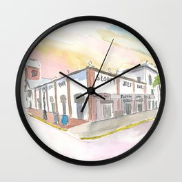 Key West Florida Bar Duval Street Scene Wall Clock