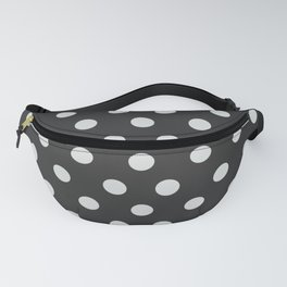 Dark Slate Grey Thalertupfen White Pōlka Large Round Dots Pattern Fanny Pack