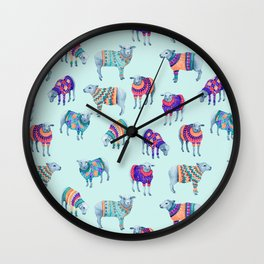 Sheep in Woolly Jumpers Wall Clock