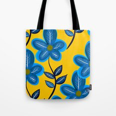 Blue Flowers and Yellow Pattern Tote Bag