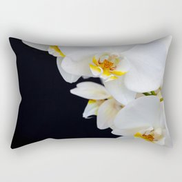 White Orchid on a black background Rectangular Pillow