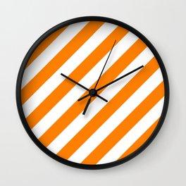 Diagonal Stripes (Orange/White) Wall Clock